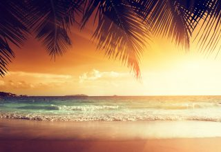 Landscape Beach Tropical Sun Wallpaper