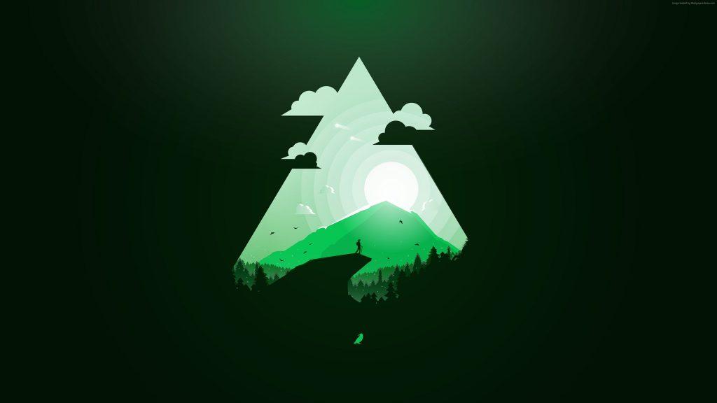 Mountain Sun Green Triangle Wallpaper