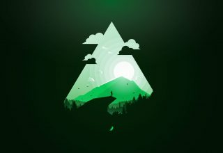 Mountain Sun Green Triangle Wallpaper
