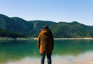 Mountains Nature Man Person Wallpaper