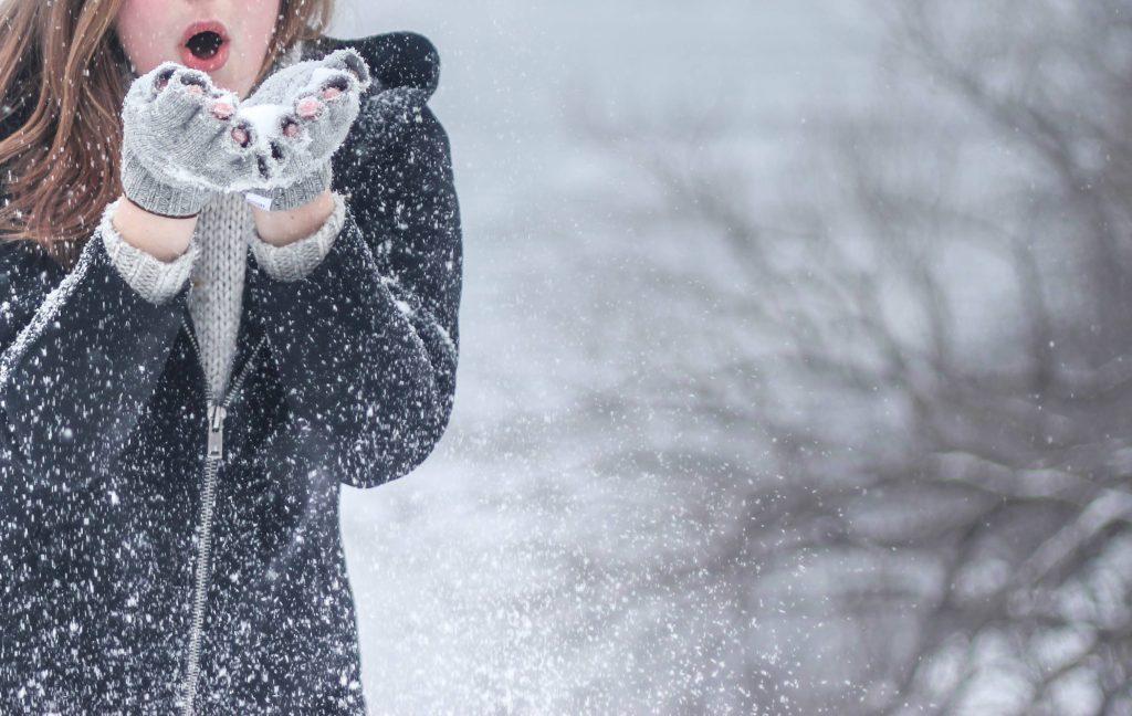 Snow Woman Winter Snowflakes Wallpaper