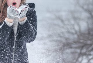 Snow Woman Winter Snowflakes Wallpaper