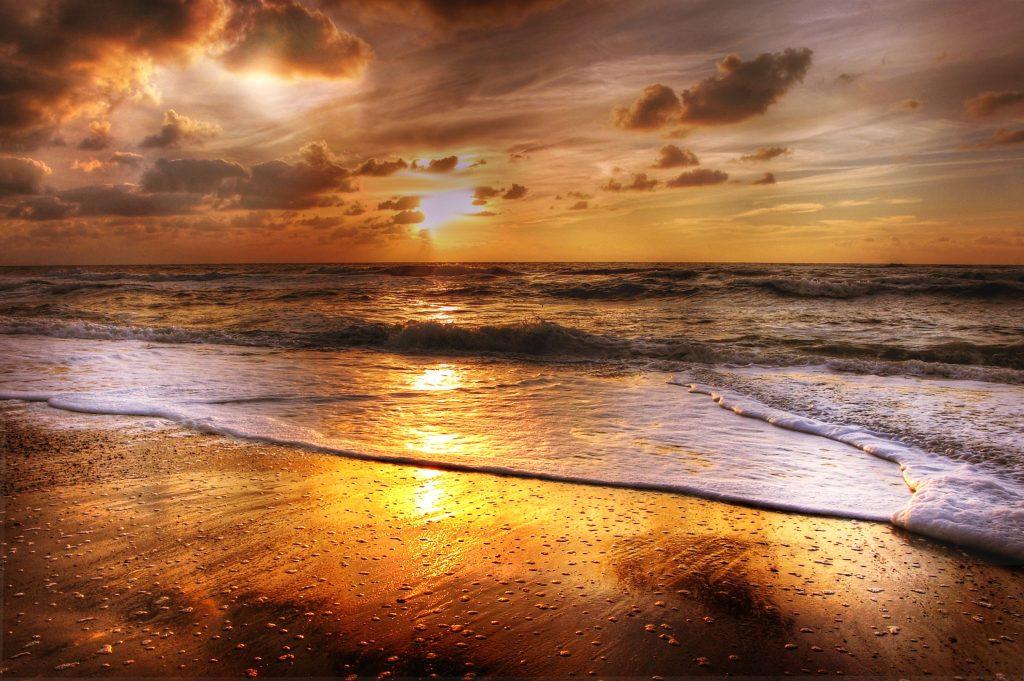 Sunset Beach Sea Sun Clouds Wallpaper