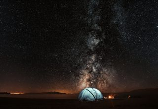 Tent Starry Sky Night Tourism Wallpaper