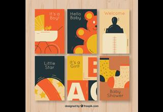 دانلود وکتور Baby cards collection in flat style