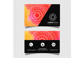 دانلود وکتور Hand Drawn Watercolor Mandala Business Card
