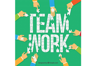 دانلود وکتور People working as a team background in flat style