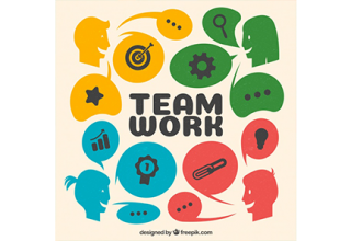 دانلود وکتور Team work background in flat style