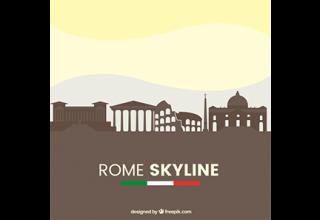 دانلود وکتور Rome skyline design