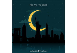دانلود وکتور New york skyline design at night