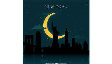 دانلود وکتور New york skyline design at night