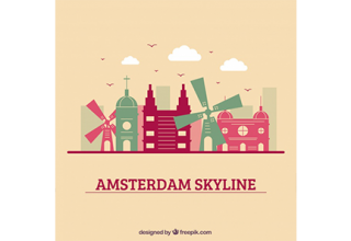 دانلود وکتور Colorful skyline design of amsterdam