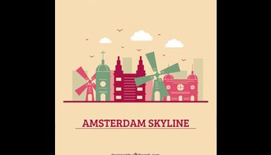 دانلود وکتور Colorful skyline design of amsterdam