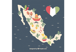 دانلود وکتور Hand drawn mexican map background with elements