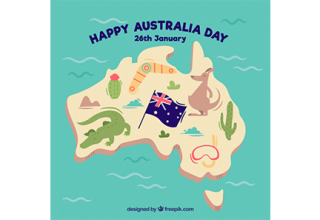 دانلود وکتور Flat australia day background