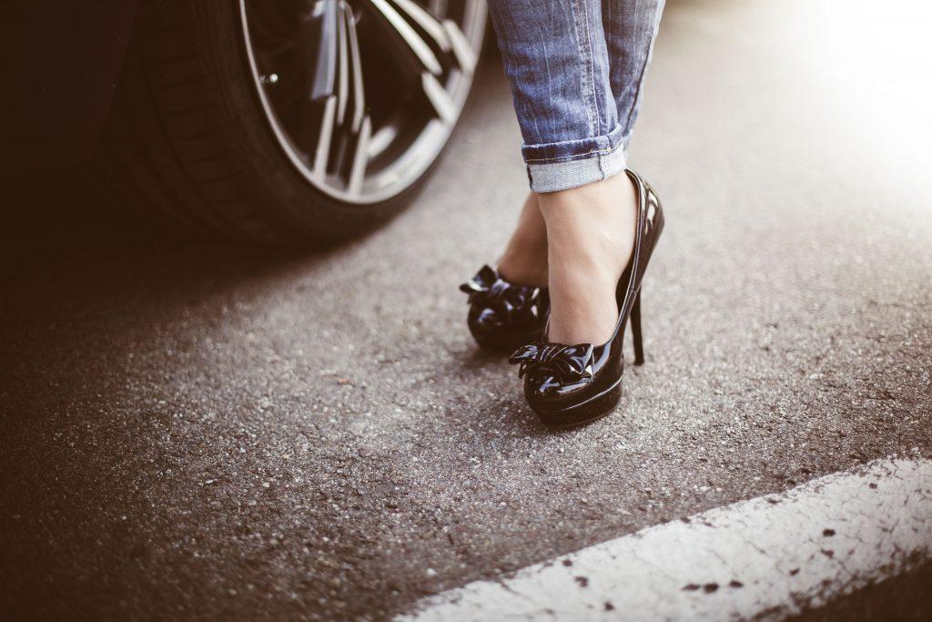 Woman High Heels Standing Car Wallpaper