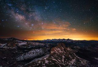 Yosemite Forest Stars Sunset Wallpaper