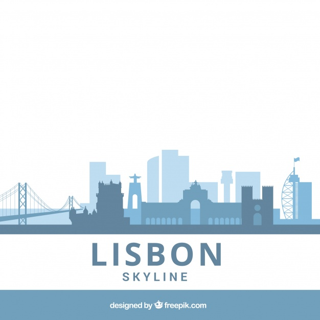 دانلود وکتور Blue flat skyline of lisbon