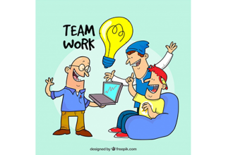 دانلود وکتور Teamwork concept with bulb