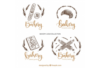 دانلود وکتور Bakery logos collection in hand drawn style