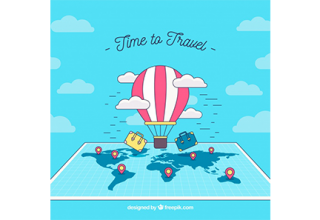 دانلود وکتور Travel background with balloon above map