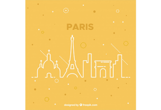 دانلود وکتور Yellow skyline of paris design