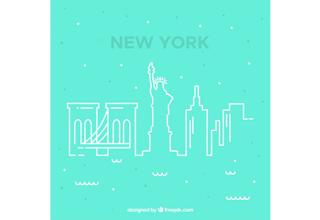 دانلود وکتور Blue skyline of new york design