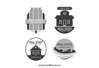 دانلود وکتور Collection of real estate logotypes in minimalistic style