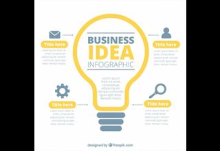 دانلود وکتور Business infographic with a lightbulb