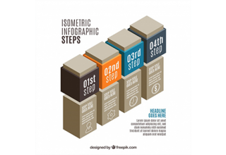 دانلود وکتور Infographic steps in isometric design