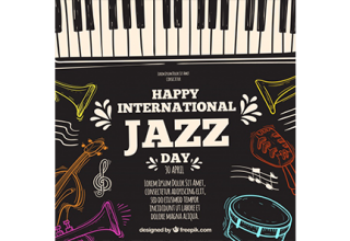 دانلود وکتور Hand drawn background for the international jazz day