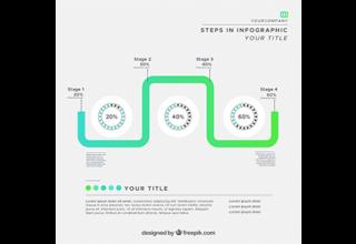 دانلود وکتور Green infographics with gradient effect
