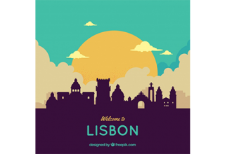 دانلود وکتور Colorful skyline of lisbon
