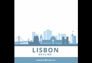 دانلود وکتور Blue flat skyline of lisbon