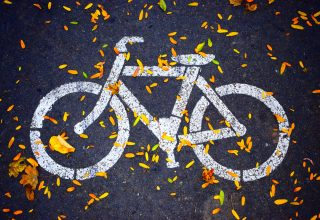 White Bicycle Road Sign Wallpaper