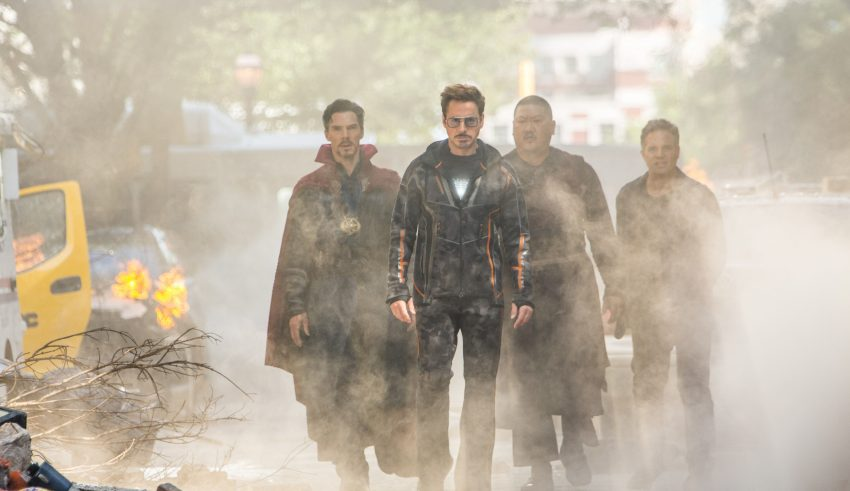 Doctor Strange, Stark, Wong And Bruce Banner in Avengers: Infinity War