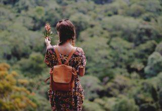 Girl Backpack Dress Flower Wallpaper