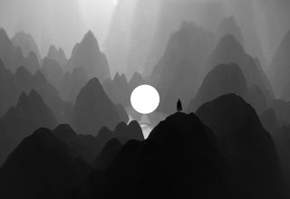 Lone Mountains Darkness Wallpaper