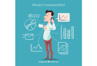 دانلود وکتور Flat project management concept with man calling