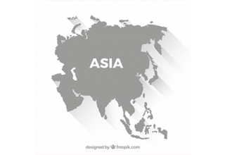 دانلود وکتور Map of asia in flat style