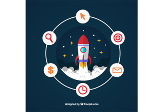 دانلود وکتور Business concept with rocket and elements