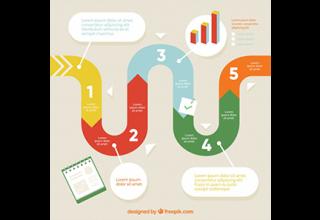 دانلود وکتور Infographic steps with colors in flat style