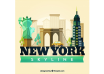 دانلود وکتور Skyline silhouette of new york city in flat style