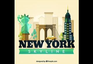 دانلود وکتور Skyline silhouette of new york city in flat style