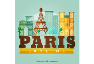 دانلود وکتور Skyline silhouette of paris city in flat style