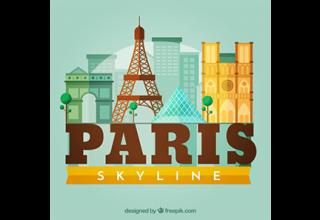 دانلود وکتور Skyline silhouette of paris city in flat style