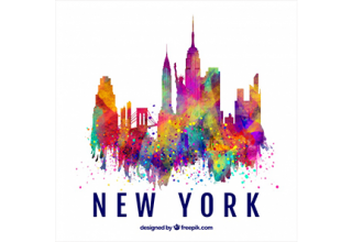 دانلود وکتور Skyline silhouette of new york city with colors