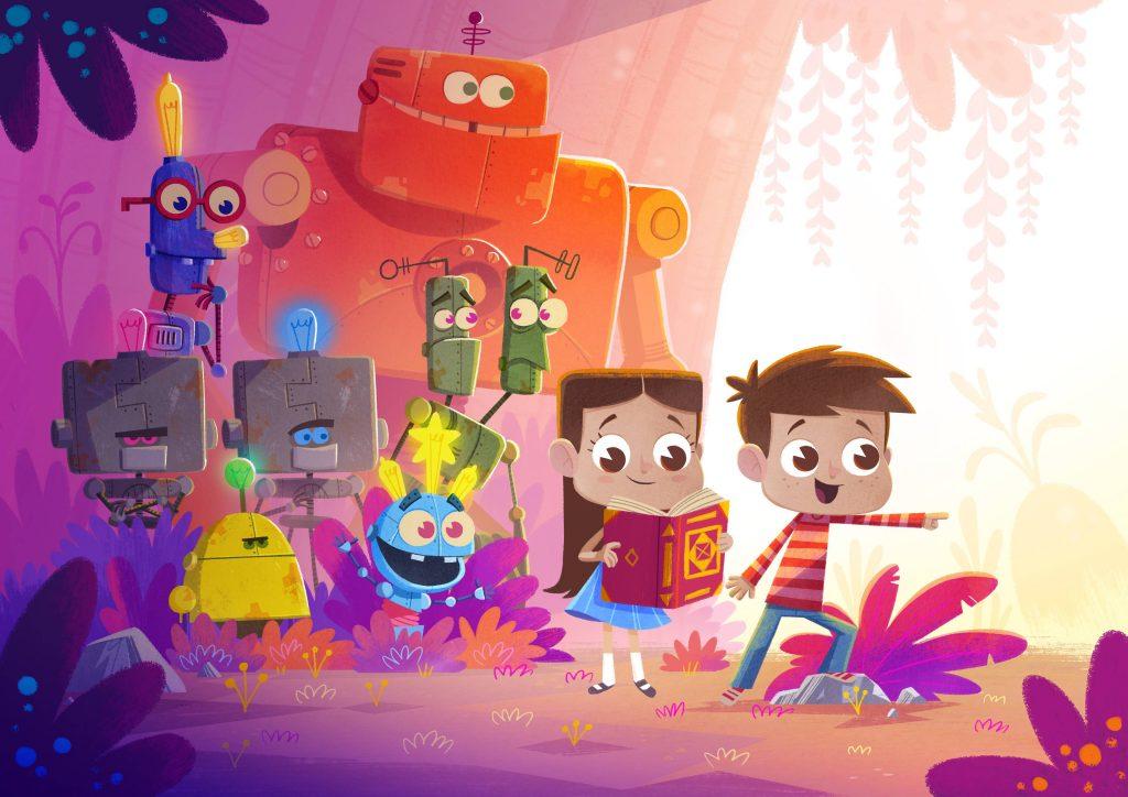 children kids robots illustration colorful wallpaper
