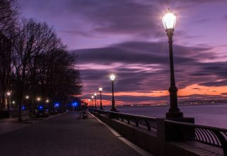 Evening Street Lamp Beside Bay Wallpaper