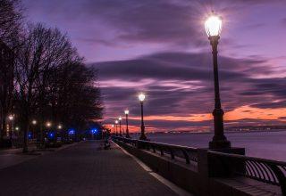 Evening Street Lamp Beside Bay Wallpaper